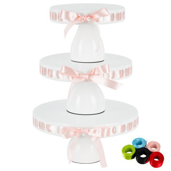 3-Piece Modern Round Metal Ribbon Cake Stand Set (White)