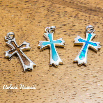 Koa Wood Cross Pendant Handmade with 925 Sterling Silver (12mm x 22mm FREE Stainless Chain Included)