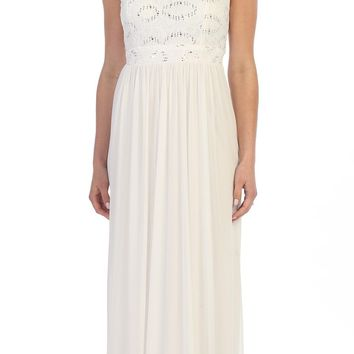 Celavie 8506-L Sleeveless Long Formal Dress with Embellished Neckline Ivory