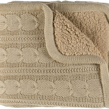 Surya Tucker Textural Knitted Throw - Neutral