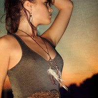 native rhythms..turquoise and pyrite dream catcher necklace