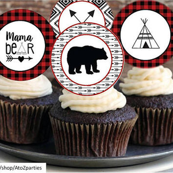 Mama Bear Baby Shower cupcake toppers, Teepee, Arrow, Tribal, Bear, instant download, baby shower, cupcake toppers, banner, DIY kit