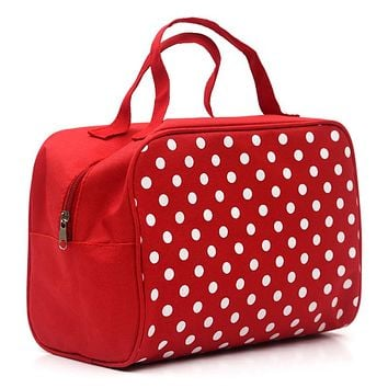 Fashion Lady Organizer  Multi Functional Cosmetic Storage Dots Bags Women Makeup Bag With Pockets Toiletry Pouch