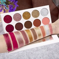 5 Glitter + 5 Matte Eyeshadow Pallete Pressed Powder Diamond Glitter Foiled Eye Shadow Make up Palette Limited Edition