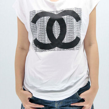 CHANEL COCO CHANEL T Shirts Tank Top Tunic Blouse women handmade silk screen printing Logo