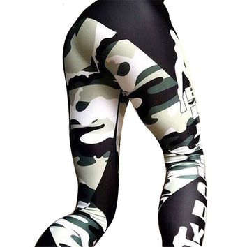 2016 Spring Autumn splice harajuku High Elasticity Legency Leggings Women Fitness Sportswear Camouflage Legging Women's Pant