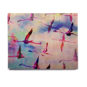 "Nikki Strange ""Flamingo in Flight"" Birchwood Wall Art"