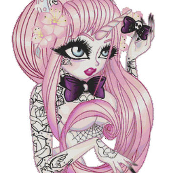 Modern Cross Stitch Kit Sweet Temptation- Unicorn Girl  By Miss Cherry Martini  - Tattoo Art Needlecraft with DMC Materials