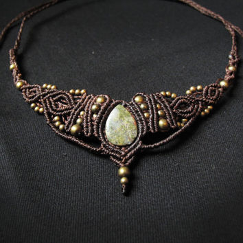 Goddess necklace. macrame necklace, tiara with unakite gemstone. Indian, asian, etnic, victorian, steampunk.