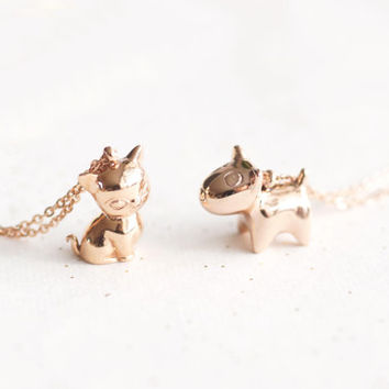 Bull Terrier dog necklace - rose gold titanium