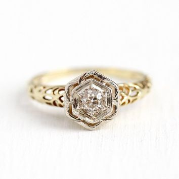 Vintage Diamond Ring - 1930s Art Deco 14k Yellow & White Gold 1/5 Carat Size 5 1/4 - Filigree Fine Engagement Two Tone Hexagonal Jewelry