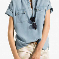 Blue Short Sleeve Denim Blouse