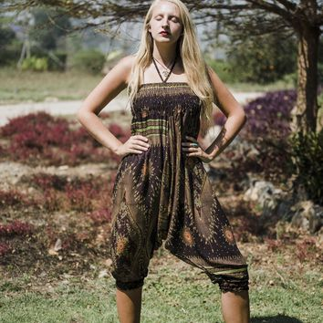 Brown Harem Pants // Brown Festival Pants // Bohemian Pants // Boho Style Pants // Romper // Festival Romper // Music Festival Clothes