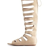 Stone Lace-Up Tall Gladiator Sandals by Charlotte Russe