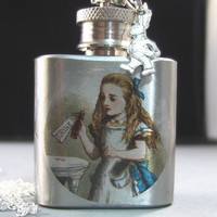 Silver Flask NecklaceAlice in WonderlandDrink by valleygirldesigns