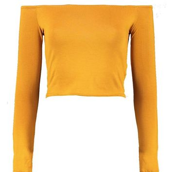 Long Sleeve Bardot Crop Top | Boohoo