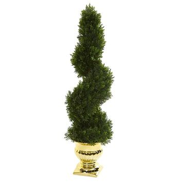 Artificial Silk Tree -27 Inches Cedar Spiral Topiary Tree In Gold Urns