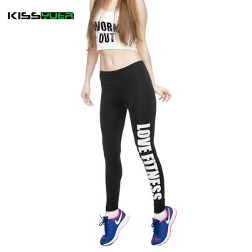 KISSyuer Work out Love fitness Just do it workout printed leggings gun for Women Fitness Legging Push up slim casual wear KL0044