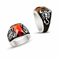 Scorpion with red zirconia stone sterling silver ring
