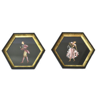Framed Silohuette Pictures Colonial Couples Framed Octagon Pictures Black Pastels Colonial Wall Hangings - Set of 2