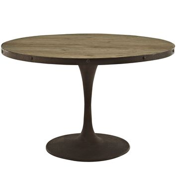 "Drive 48"" Industrial Modern Round Wood Top Dining Table"