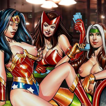 STRIP POKER -- Battle of the Brunettes -- WONDER WOMAN, ROGUE, SCARLET WITCH