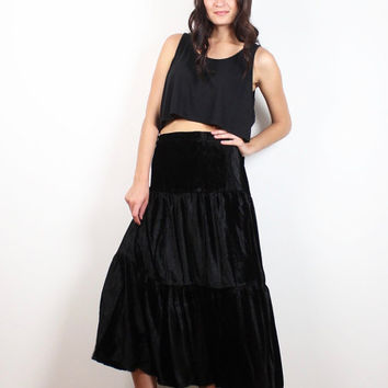 Vintage 90s Crushed Velvet Skirt Black 1990s Soft Goth Gypsy Skirt Tiered Midi Skirt Soft Grunge Boho Hippie Maxi Skirt Extra Large XL XXL