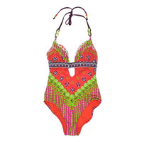 Trina Turk Womens Printed Keyhole One-Piece Swimsuit