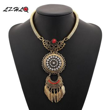 LZHLQ 2019 Fashioin Women Necklace Vintage Statement Necklaces Pendants  Bohemia  Leaves Tassels Jewelry  Accessories 5 Colors