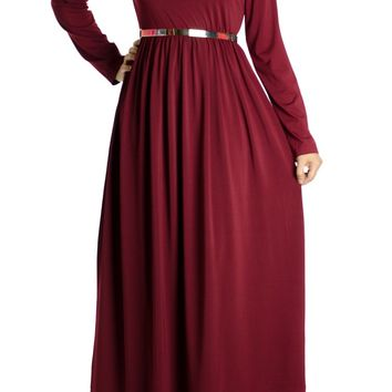 Maroon Milk Silk Maxi Dress