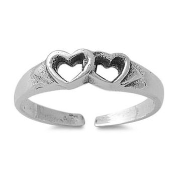 Sterling Silver Two Hearts Beating as One 4MM  Toe Ring/ Knuckle/ Mid-Finger
