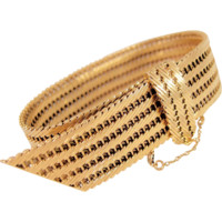 Imposing stamped 18K solid gold cuff bracelet, heavy belt lock strap, easy snap closure, extra fancy links