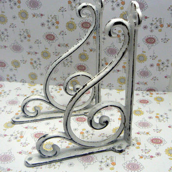 Wall Bracket Cast Iron Elegant Swirl Corbel Style Shelf Brace Shabby Chic White White Decorative Distressed 1 Pair (2 individual brackets)