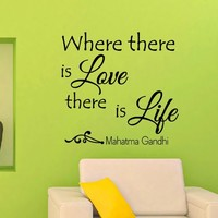 Wall Decals Quotes Mahatma Gandhi Where There Is Love There Is Life Decal Lettering Stickers Home Decor Art Mural Z792