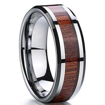 8mm Silver Tungsten Carbide Wedding Engagement Ring Polished Beveled Edge Wood Inlay Band