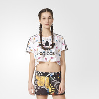 """Adidas"" Multicolor Clover Stripe Print Round Neck Short Sleeve Women T-shirt Crop Top"