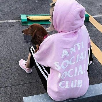 """Anti Social Social Club"" Popular Women Men Casual Letter Print Sport Long Sleeve Hoodie Sweater Pullover Top Pink I12348-1"