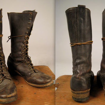 Vintage 1930s / 40s authentic Depression era logging boots / lace-up leather work boots