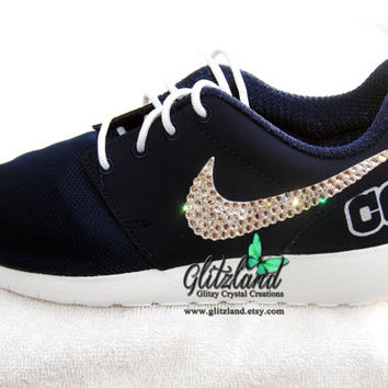 Swarovski Nike Girls / Women Navy Roshe Run w/ Dallas Cowboys Print Heel Blinged with SWAROVSKI® Crystals