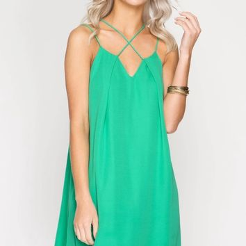 Green Strappy Cross Front Shift Dress