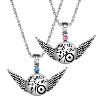 Archangel Michael Magic Planetary Amulets Set Angel Wings Royal Blue and Pink Crystals Pendant Necklaces