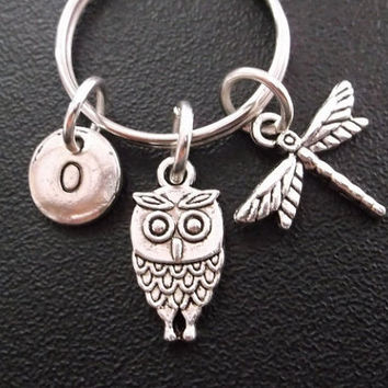 Owl and dragonfly keyring, keychain, bag charm, purse charm, monogram personalized item No.268