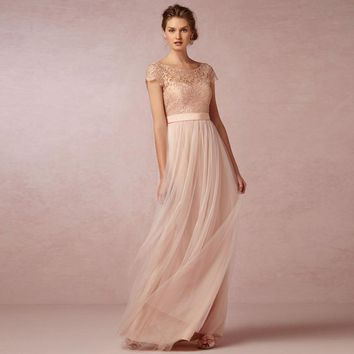 2016 Coral Lace Bridesmaid Dress Blush Pink Wedding Party Dress Custom Made Vestido Madrinha Bridesmaid Dresses Long Formal Gown