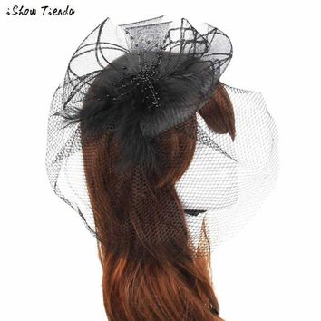Women Headwear Wedding Fascinator Veil Feather Hard Yarn Headband Hats Women Brides Hair Accessories