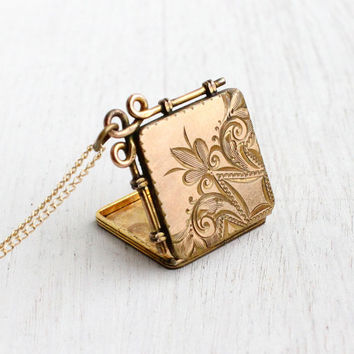 Antique Victorian Floral Locket Necklace - Vintage Edwardian Gold Filled Square Fob Locket Jewelry Monogrammed Back / SKM Co.