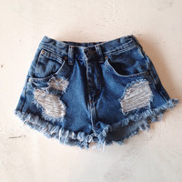 High Waisted Denim Shorts Size 00 Ripped Jean Shorts