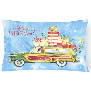 Merry Christmas English Bulldog Canvas Fabric Decorative Pillow CK2453PW1216