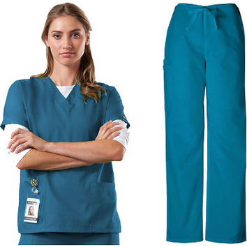 Cherokee Workwear Women's V-Neck Scrub Top & Drawstring Pant Set