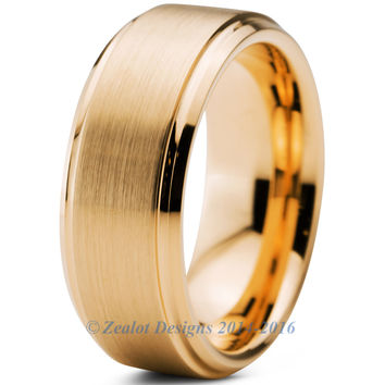8mm 18k Yellow Gold Plated Brushed Beveled Pipe Cut Tungsten