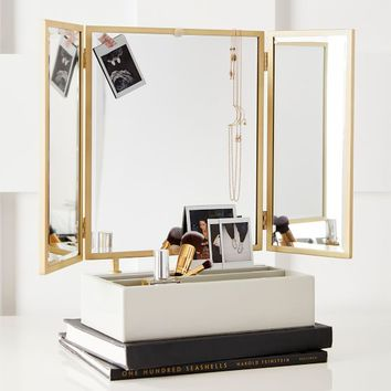 Elle Lacquer Beauty Storage with Trifold Mirror